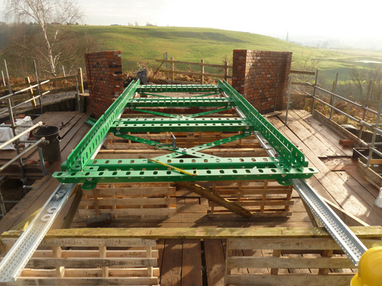 Meccano Bridge, Bolton - construction starts