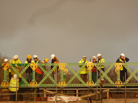 Meccano Bridge, Bolton - volunteers at work