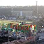 Meccano Bridge, Bolton - view during construction