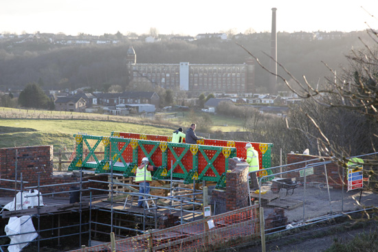 Meccano Bridge, Bolton - during construction